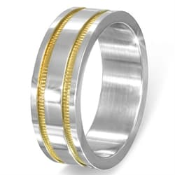 "Ring i rustfrit stål (316L) ""Gold plated"""